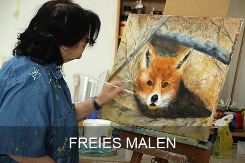 Schaltfläche Freies Malen Atelier Leoni, Kunstakademie Wertheim, Akademie für Fotorealismus